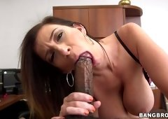Sara Jay likes to suck a large dark cock of her new friend