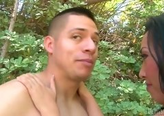 Hungry for pecker cougar is sucking big hard tool outdoor