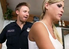 Perverted police officer screwed this golden-haired babe with her nice titties