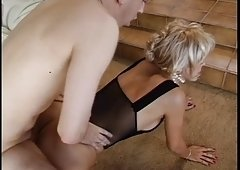 Trashy aged c-cup blondie sucks young dude's cock then he licks her pussy