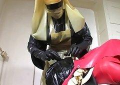 Bizarre rubber apron slavery 4 of 5