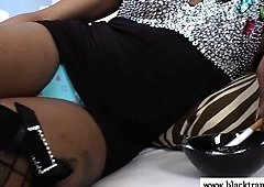 Shemale in nylons wanking after smoking