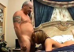 Clair James, blond babe dares to fuck an old man and also see