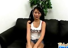 Cute 18 yo babysitter Evelyn Ling playing exposed on the