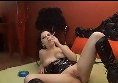 Sexual Dark Brown Smoking & Toying On Cam