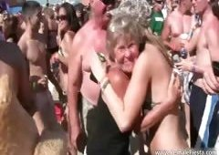 Huge beach party with sexy raunchy golden-haired part2