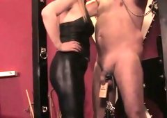 Mistress dominating dilettante sub with clamps