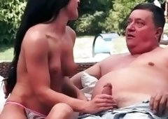Beautiful young-looking brunette hair enjoys sex with grandpa