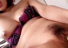 Asiatic hottie with smokin tits masturbates wildly