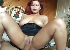 Chubby and plus filthy redhead wildly jumps on her man's cock
