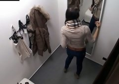 Bewitching brunette hair with gorgeously shaped a-hole caught on hidden camera