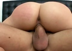 Sensual golden-haired coed Mia sucks juicy cock & rides sex partner face to face