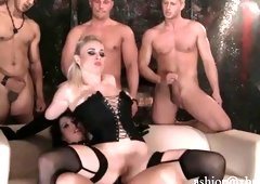 Mistress, her floozy slave & 3 getting down and dirty lucky guys