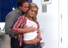 Pretty and also horny chick Ashley Abbott performs her lover a nice blowjob