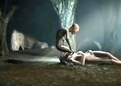 Sexy 3D babe getting fucked outdoors by Gollum