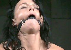 Flexible brunette hair slut lriver is toy pounded in hardcore BDSM porn clip